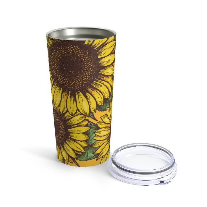 Big Sunflowers 20oz Stainless Steel Tumbler - TumblerMountainGoods