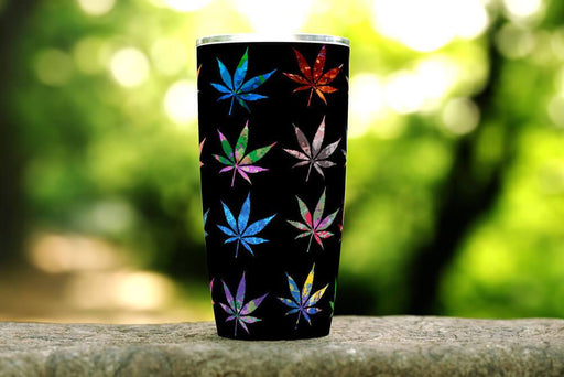 Multi-color Cannabis 20oz Stainless Steel Tumbler - TumblerMountainGoods