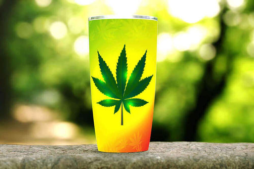 Yellow Cannabis 20oz Stainless Steel Tumbler - TumblerMountainGoods