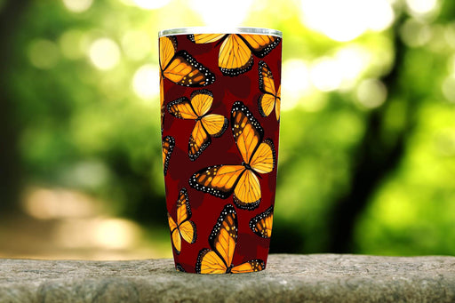 Orange Butterfly 20oz Stainless Steel Tumbler - TumblerMountainGoods