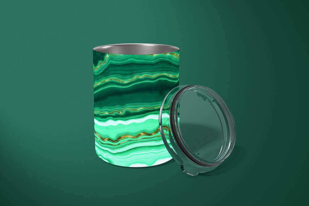 Malachite Tumbler: Abstract 10oz Drink Tumbler - TumblerMountainGoods