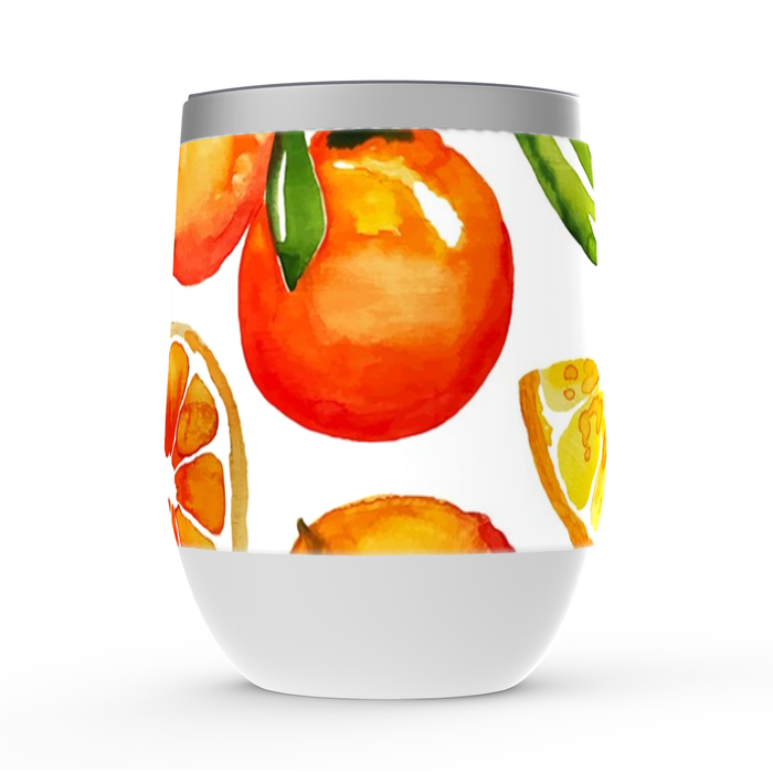 Navajo Orange Stemless Wine Tumbler: Insulated Wine Tumbler - TumblerMountainGoods
