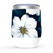 White Floral Stemless Tumbler: Insulated Wine Tumbler - TumblerMountainGoods