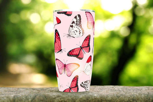 Red Butterflies Stainless Steel Tumbler - TumblerMountainGoods