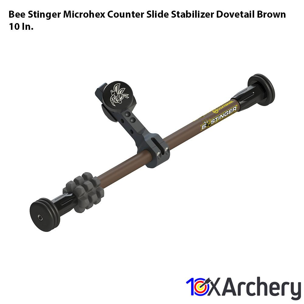 Bee Stinger Microhex Counter Slide Stabilizer Dovetail Brown 10 In. - 10xArchery