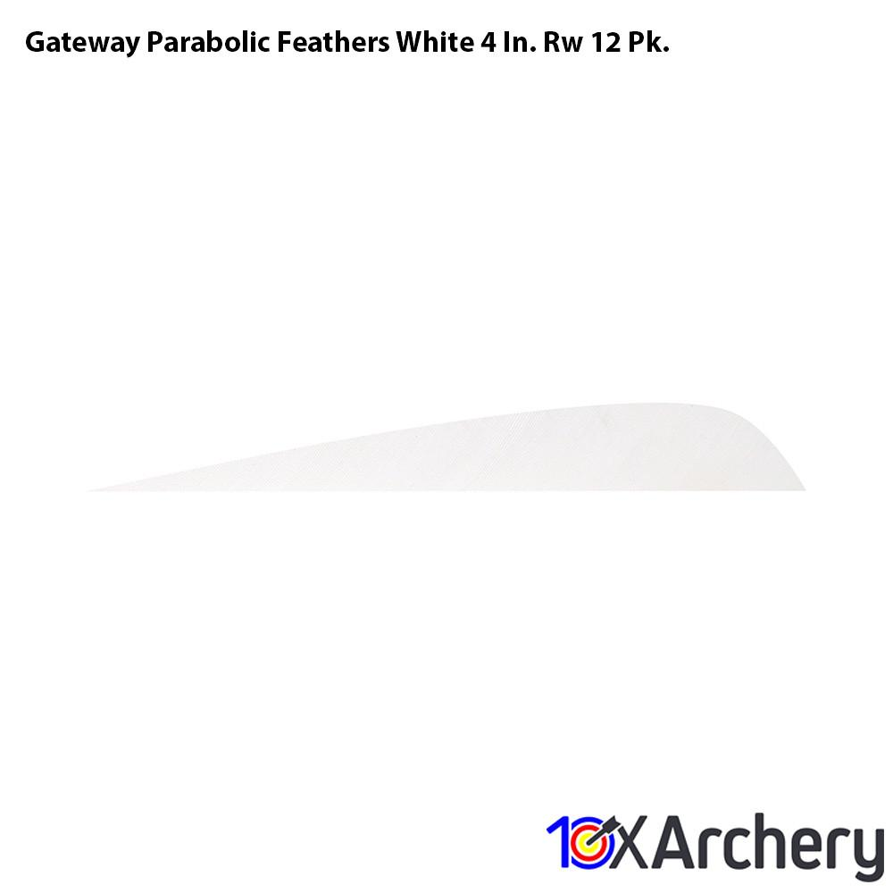 Gateway Parabolic Feathers White 4 In. Rw 12 Pk. - 10xArchery