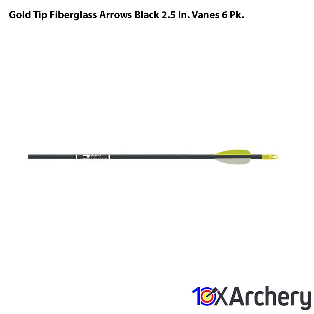 Gold Tip Fiberglass Arrows Black 2.5 In. Vanes 6 Pk. - Archery