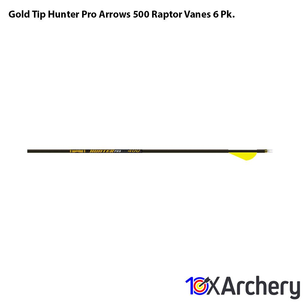 Gold Tip Hunter Pro Arrows 500 Raptor Vanes 6 Pk. - 10xArchery
