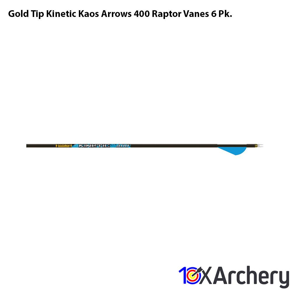 Gold Tip Kinetic Kaos Arrows 400 Raptor Vanes 6 Pk. - 10xArchery
