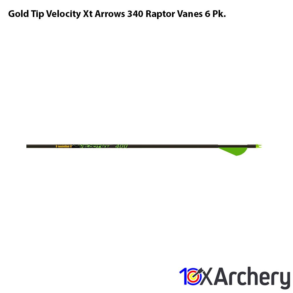 Gold Tip Velocity Xt Arrows 340 Raptor Vanes 6 Pk. - 10xArchery