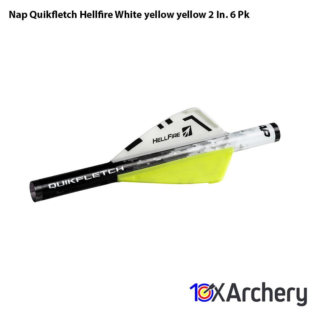 Nap Quikfletch Hellfire White/yellow/yellow 2 In. 6 Pk - Archery