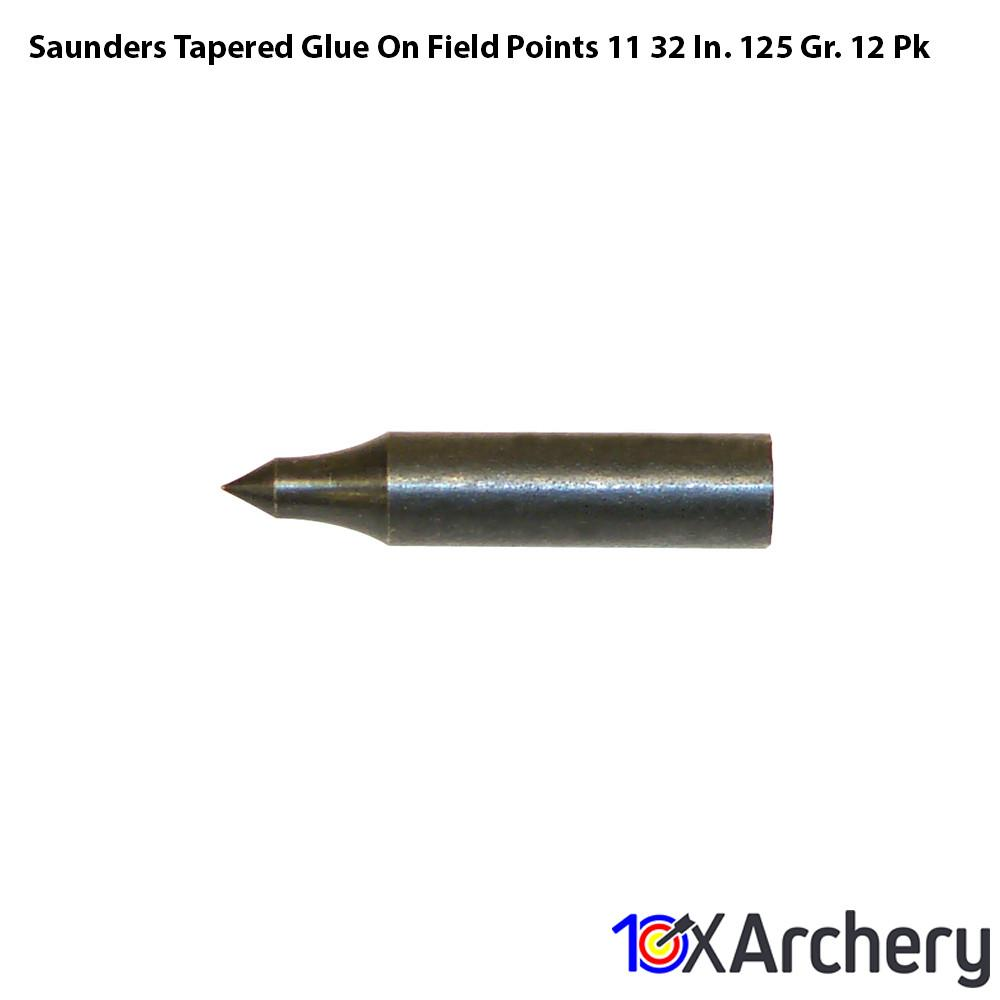 Saunders Tapered Glue On Field Points 11/32 In. 125 Gr. 12 Pk - Archery