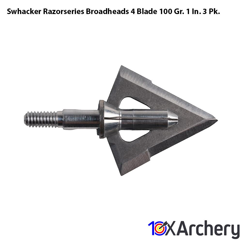 Swhacker Razorseries Broadheads 4 Blade 100 Gr. 1 In. 3 Pk. - Archery