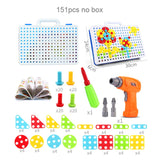 Kids Screwing Blocks Toys Assembly Disassembly Educational Toy Electric Drill Screwing Puzzle