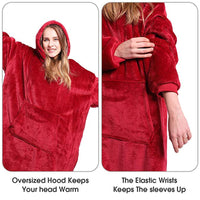 Microfiber Plush Coral Fleece Sherpa Blanket With Sleeves
