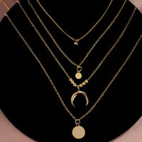 2020 Collier Chain Necklace Multilayer Moon Stainless Steel Disc Gold Pendant Necklace For Women New Trend Female Jewelry Collar
