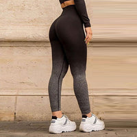 Adapt ombre seamless yoga sets long sleeve seamless yoga top shirt 2pcs workout gym suits high waist ombre leggings gym clothing