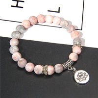 Handmade Natural Stone Lotus Ohm Buddha Beads