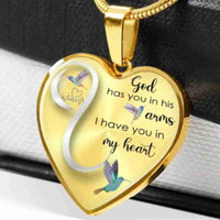 God Has You In His Arm I Have You In My Heart Necklace Valentine's Day Gift For Wife Girlfriend Heart Shape Pendant Necklace