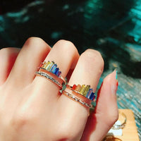 Crown Rainbow Rings Adjustable Opening Rhinestone Engagement Ring For Women Wedding Jewelry Gift Fashion Crown Rainbow Rings