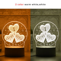 New I LOVE YOU 3D Lamp