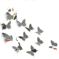 Hot 24pcs Mirror Wall Sticker Decal Butterflies