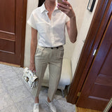 Summer Casual blouse women Turn-down Collar Short Sleeve pocket Loose Solid white blouse women