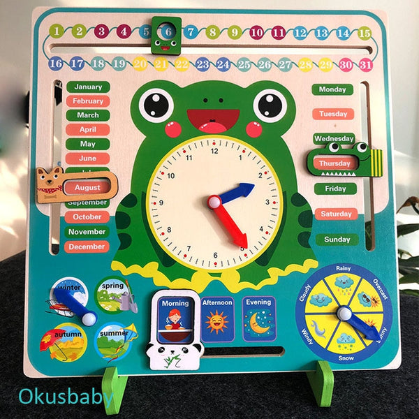 Multifunctional 3D Stand Wood Colorful Weather Calendar Cartoon Clock Frog Animal Four Seasons Time Early Home Educational Toys