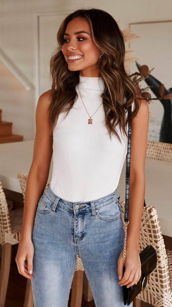 Pearcy Sleeveless Knit Top - White