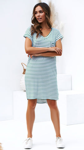 Arizona Dress - Green/White Stripe