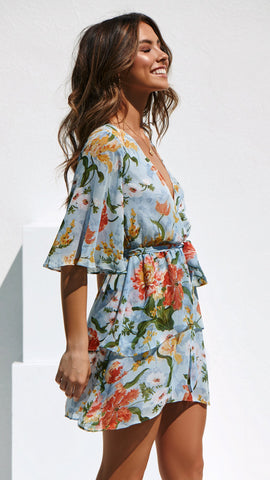 Love on the run dress - Blue Floral