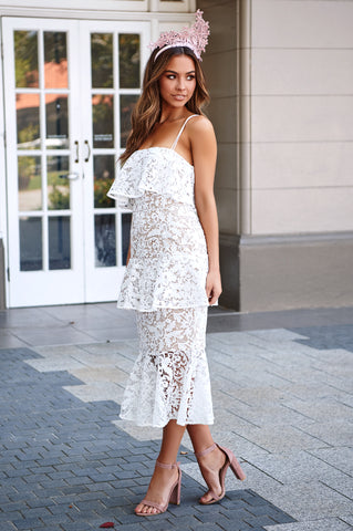 Snapdragon Fitted Layered Lace Dress - white- Cooper St