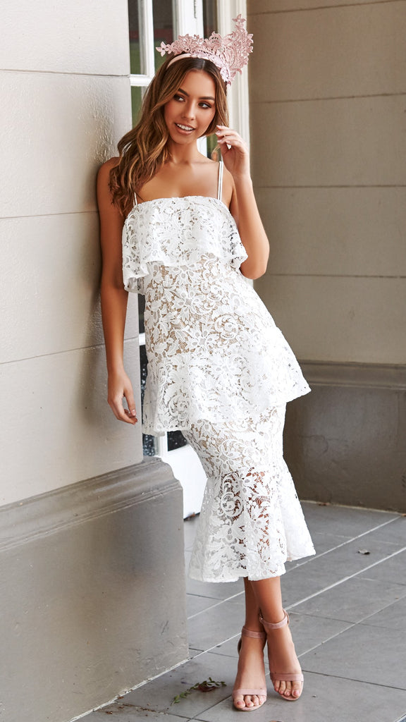 Snapdragon Fitted Layered Lace Dress White Cooper St