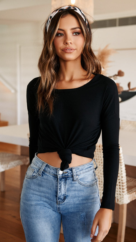 Lucy Rib Oversized Top - Black