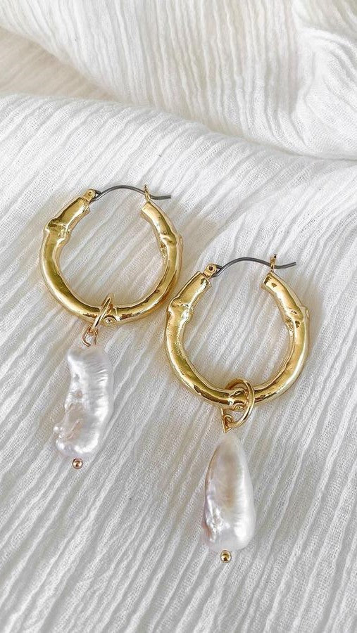 India Pearl Hoop - Gold