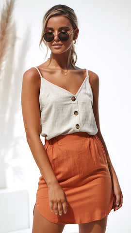 Duke Linen Skirt - Burnt Orange