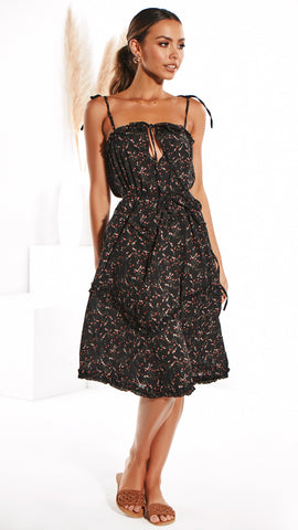 With Grace Dress - Black Floral