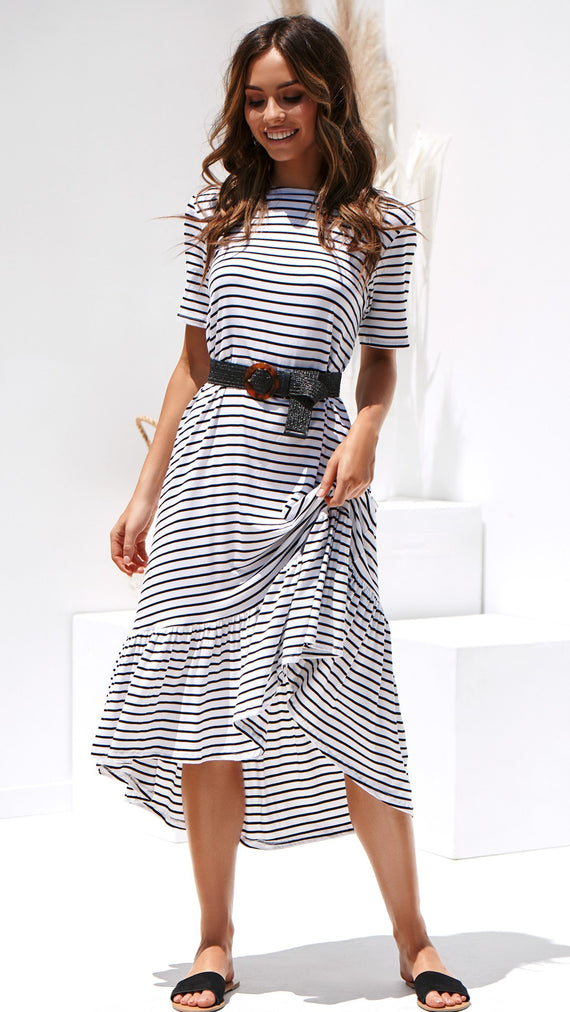 Stockholm Midi Dress - Black White Stripe