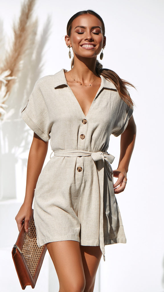 Whitsunday Playsuit - Natural