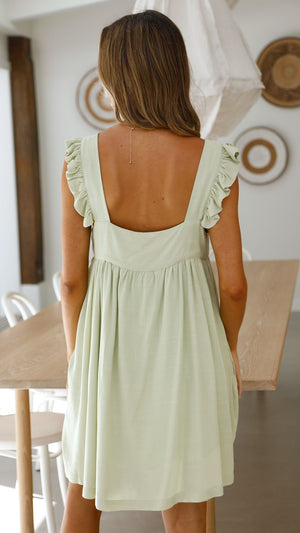 Abbie Smock Dress - Pistachio
