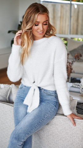 Cleo Knit Top- White