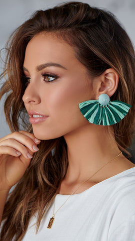 Paper Tassel Stud Earrings - Green