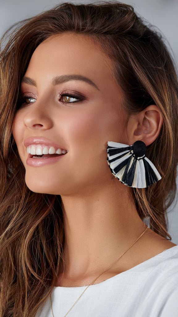Paper Tassel Stud Earrings - Black