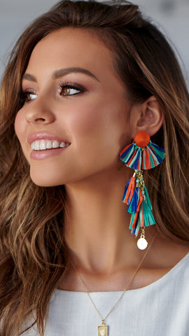 Paper Tassel Earrings - Orange Multi