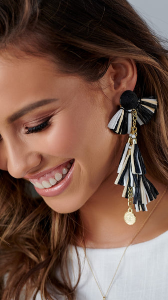 Paper Tassel Earrings - Black, White & Cream