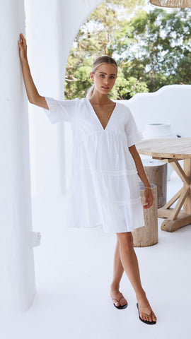 Claudette Dress - White