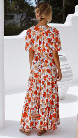 Orabela Maxi Dress - Orange Floral