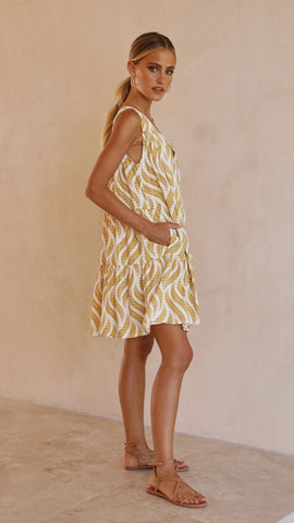 Mazie Mini Dress - Mustard Leaf