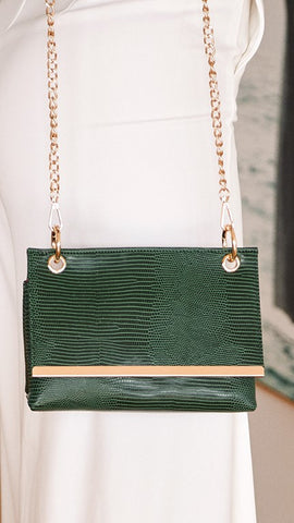 Muse Fold Over Bag - Reptile Print Green