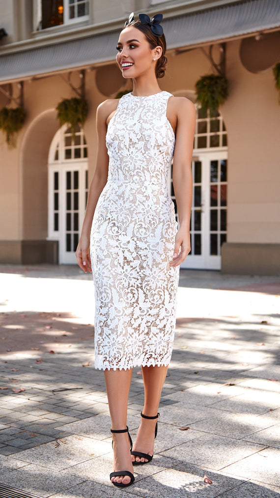 Snapdragon High Neck Lace Dress - White- Cooper St